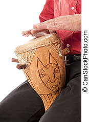 macho, juego, africano, tambor, el suyo, regazo