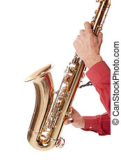 Man playing saxophone in closeup - Male entertainer playing...