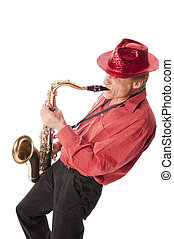 Man playing saxophone leaning backwards - Male artist...