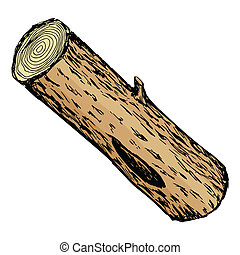 illustration of wood log - hand drawn, cartoon, sketch...