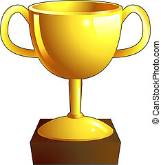 Gold trophy illustration icon - A gold shiny winners trophy...