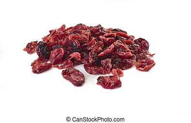 cranberries - dried cranberries on a white background