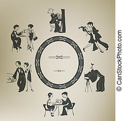 Set of characters in vintage party activities Retro stylized...