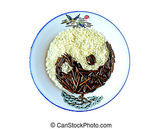 the tao symbol of yin and yang made of rice