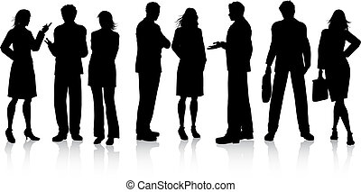 Business conversations - Silhouettes of business people in...