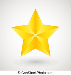 Gold star on the light background