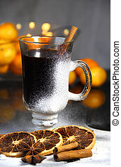 Traditional Christmas punch on the wooden background -...