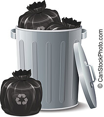 fer, casier, à, déchets, sac