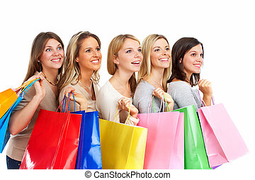 Group of shopping people - Group of shopping people isolated...