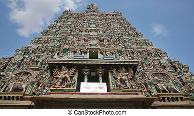 Ornate facade of Hindu temple in detail