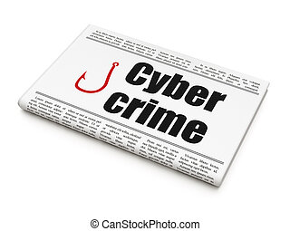 Protection news concept: newspaper with Cyber Crime and...