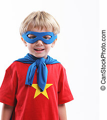 Little Superhero - Portrait of a young superhero on white...