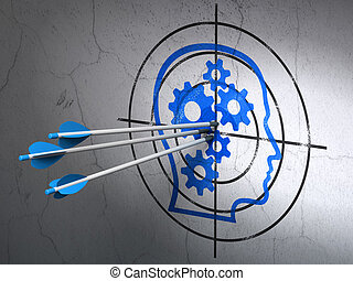 Information concept: arrows in Head With Gears target on...