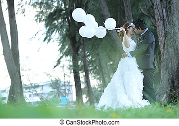 wedding couple get marriage with twilight time