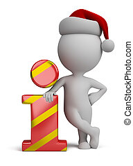 3d small people - Santa and info icon - 3d small person -...