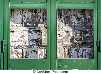Antique massive wooden door
