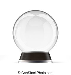 Empty snow globe  isolated on a white background. 3d render