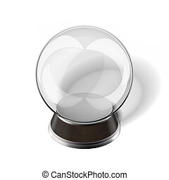 Snow globe isolated on a white background. 3d render