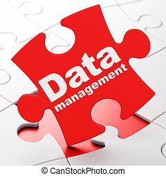 Data concept: Data Management on puzzle background - Data...