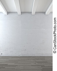 empty room with wooden floor 3d render