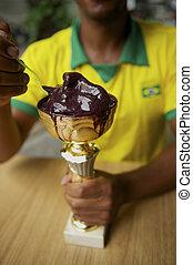 atleta, come,  acai, Brasileiro