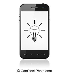 Business concept: Light Bulb on smartphone - Business...