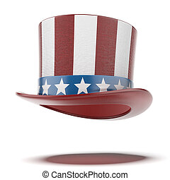 fourth of July hat isolated on a white background 3d render...