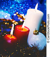 Christmas backgrounds with candles and garland for your...
