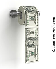 Dollars as toilet paper