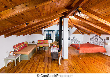 beautiful interior of an attic - beautiful interior of a...