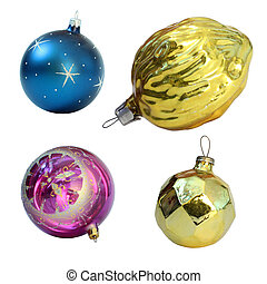Christmas toys. Isolated on white background. Balls and gold...