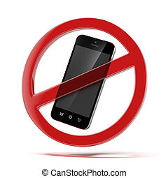 no cell phone sign isolated on a white background 3d render...
