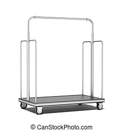 Luggage cart  isolated on a white background. 3d render