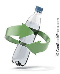 Plastic bottle recycling isolated on a white background 3d...