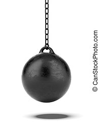 Black Wrecking ball isolated on a white background 3d render...