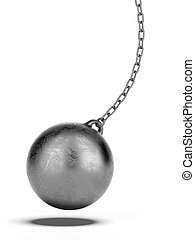 Wrecking ball  isolated on a white background. 3d render