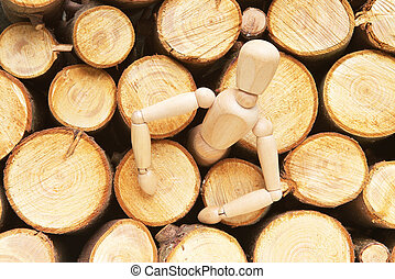 Wood doll - Wodd doll liberating of logs