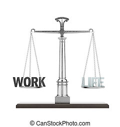 word life and work on scale isolated on a white background....