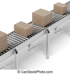 Cardboard boxes on a conveyor belt isolated on a white...