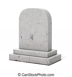 Blank gravestone isolated on a white background 3d render