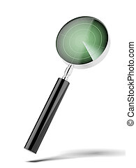 magnifying glass with radar isolated on a white background...