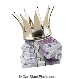 Euro with golden crown isolated on a white background. 3d...