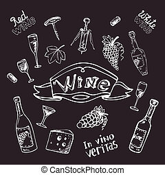 Wine set on chalk board vector illustration