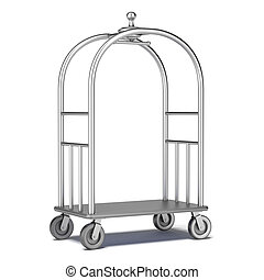 Hotel cart isolated on a white background. 3d render