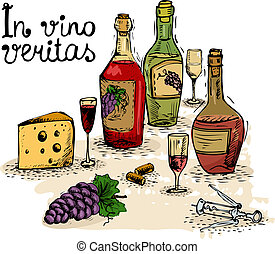 Wine still life - In vino veritas, wine still life isolated...