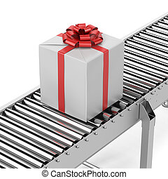 Gift on the line isolated on a white background. 3d render