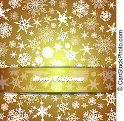 Merry Christmas Card Snowflakes - Abstract Snowflakes with...