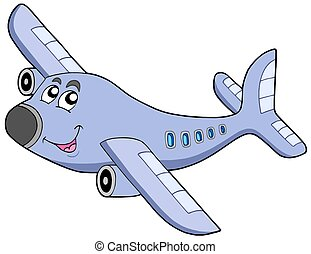 Cartoon airplane on white backgroud - isolated illustration
