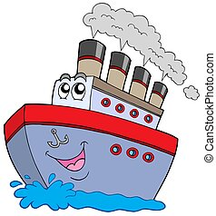 Cartoon boat on white background - isolated illustration