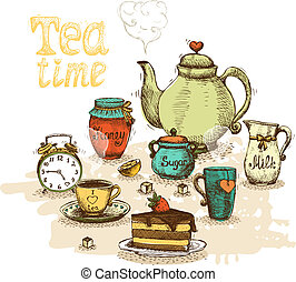 Tea time still life set vector illustration